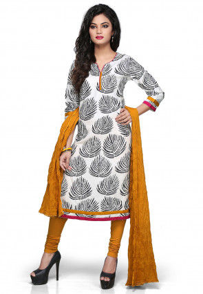 Printed Straight Cut Suit in White