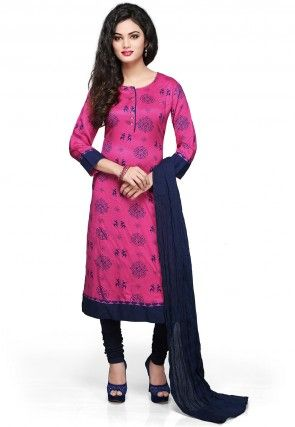 Printed Straight Cut Suit in Fuchsia