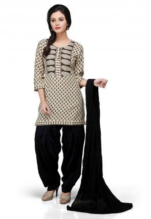 Printed Punjabi Suit in Beige