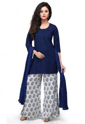 Straight Cut Jacquard Suit in Blue