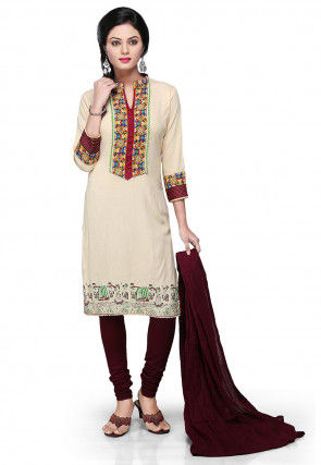 Embroidered Straight Cut Suit in Cream