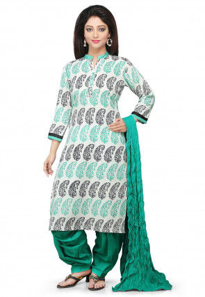 Printed Cotton Punjabi Suit In Off White