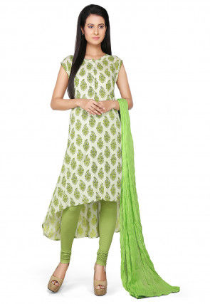 Printed Asymmetric A Line Rayon Suit in Off White and Green