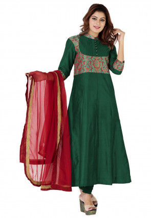 Woven Yoke Cotton Silk and Brocade Anarkali Suit in Dark Green