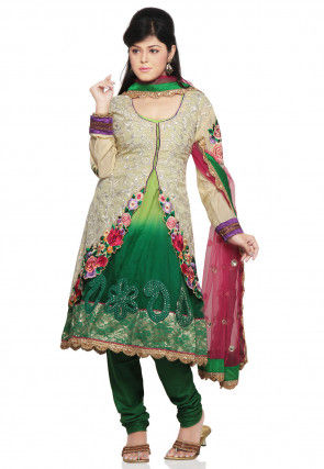 Embroidered Art Silk Jacket Style Anarkali Suit in Green