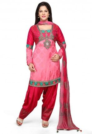 Embroidered Art Silk Jacquard Punjabi Suit in Pink