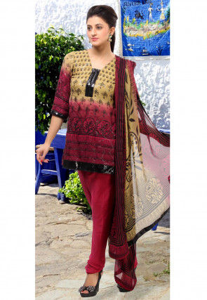 Embroidered Shimmer Georgette Straight Cut Suit in Wine and Beige