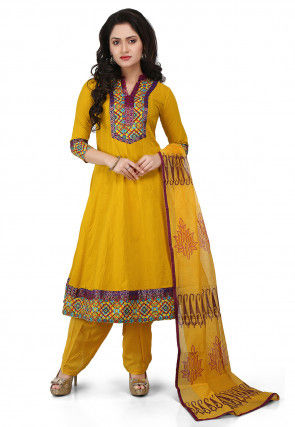 Printed Cotton Anarkali Suit in Mustard