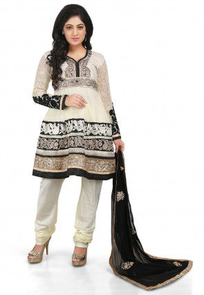 Embroidered Georgette and Brocade Anarkali Suit in Cream