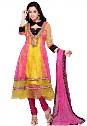 Yellow and Light Fuchsia Shimmer Net Anarkali Churidar Kameez