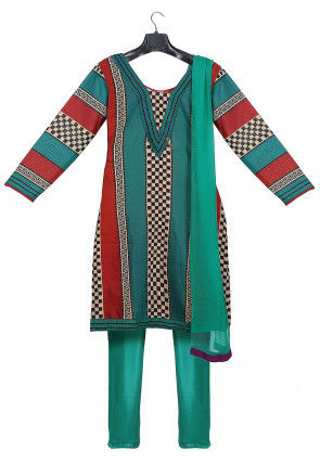 Printed Art Silk Straight Suit in Multicolor