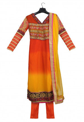 Embroidered Georgette Straight Suit in Orange and Mustard
