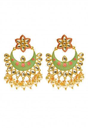 Kundan Enamel Filled Chandbali Earrings