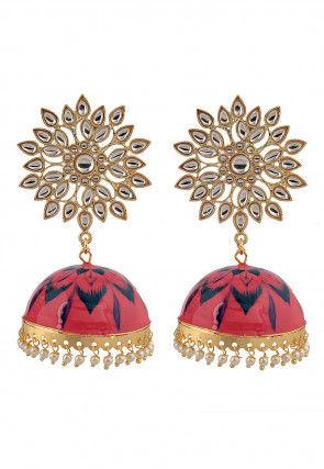 Kundan Enamel Filled Jhumka Style Earrings