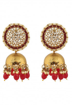 Kundan Enamelled Jhumka Style Earrings
