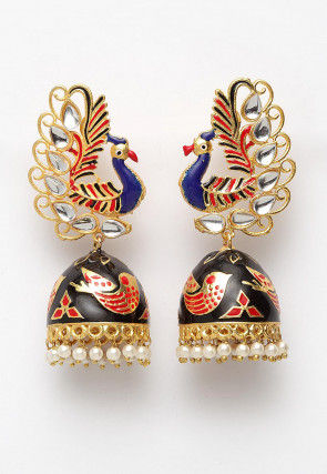 Kundan Enamelled Peacock Jhumka Style Earrings