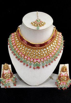 Kundan Hand Painted Choker Necklace Set