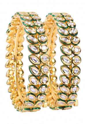 Kundan Meenakari Pair of Openable Bangles