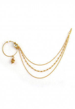 Kundan Nose Ring with Layered Chain