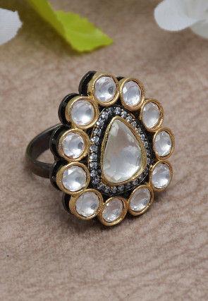 Kundan Oxidised Adjustable Ring