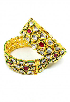 Kundan Pair of Openable Bangles