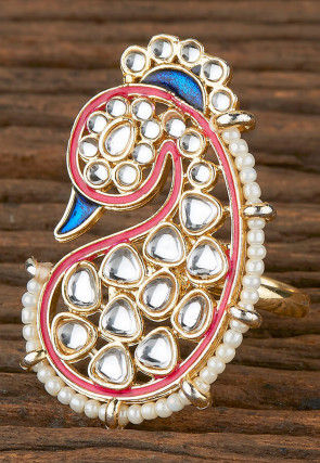 Kundan Peacock Style Adjustable Ring