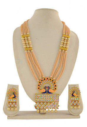 Kundan Peacock Style Meenakari Necklace Set