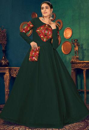 Kutch Work Georgette Navratra Gown in Dark Green