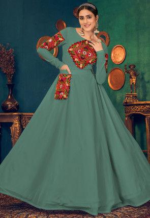 Kutch Work Georgette Navratra Gown in Dusty Green