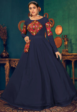 Kutch Work Georgette Navratra Gown in Navy Blue