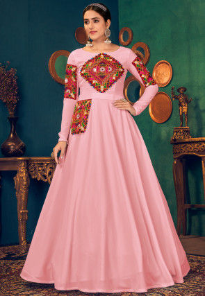 Kutch Work Georgette Navratra Gown in Pink