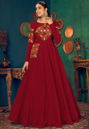 Kutch Work Georgette Navratra Gown in Red