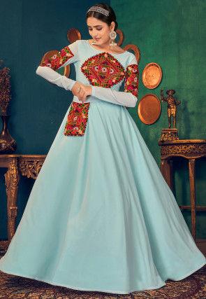 Kutch Work Georgette Navratra Gown in Sky Blue