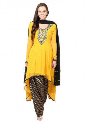 Embroidered Asymmetric Anarkali Suit in Yellow