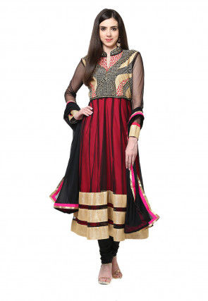 Embroidered Net Anarkali Suit in Black and Pink