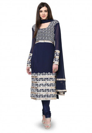 Embroidered Straight Cut Georgette Suit In Navy Blue