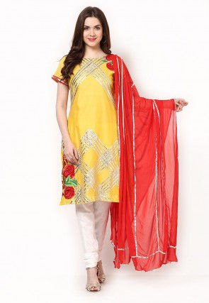 Embroidered Straight Cut Suit in Yellow