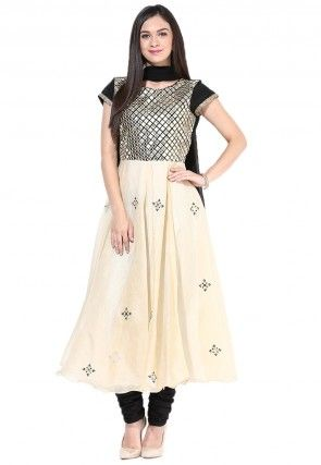 Embroidered Cotton Anarkali Suit In Black and Beige