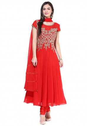 Anarkali Georgette Suit In Red