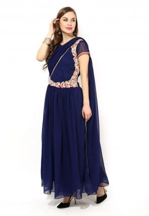 Abaya Style Embroidered Suit In Navy Blue