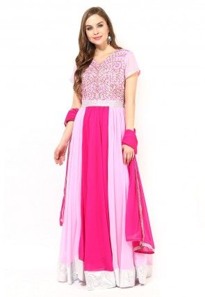 Abaya Style Embroidered Suit in Pink