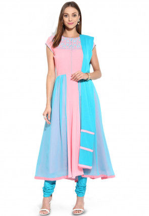 Embroidered Anarkali Georgette Suit in Pink and Blue