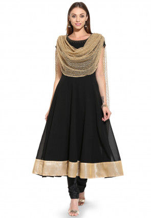 Embroidered Anarkali Georgette Readymade Suit in Black