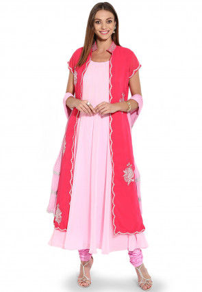 Embroidered Jacket Style Anarkali Georgette Suit in Pink and Fuchsia