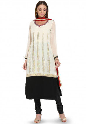 Embroidered Straight Cut Georgette Suit in Off White and Black