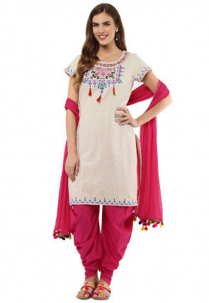 Embroidered Cotton Punjabi Suit in Off White