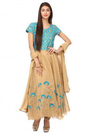 Embroidered Chanderi Silk Flared Suit in Beige and Blue