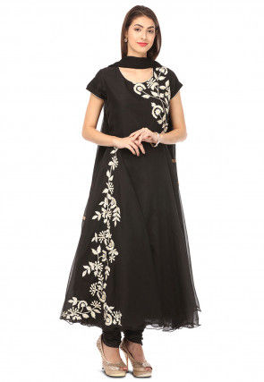 Embroidered Chanderi Silk Flared Suit in Black
