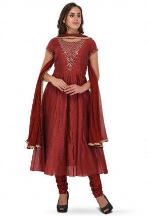 Embroidered Chanderi Silk Anarkali Suit in Maroon