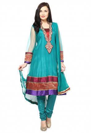 Embroidered Anarkali Suit in Teal Blue